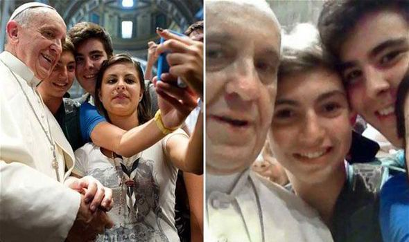 """# 4. Editors of the Oxford Dictionary unanimously declared """"selfie"""" as the word of the year in 2013.  Spinoffs of the selfie include wefies, seen here with Pope Francis.  As narcissistic as they seem, #selfies cross generations and bring them together."""