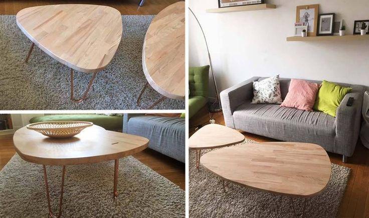 TUTORIEL - Ces deux tables basses, réalisées à partir d'un plan de travail de cuisine et de tuyaux de cuivre, coûtent moins de 100 euros à fabriquer.