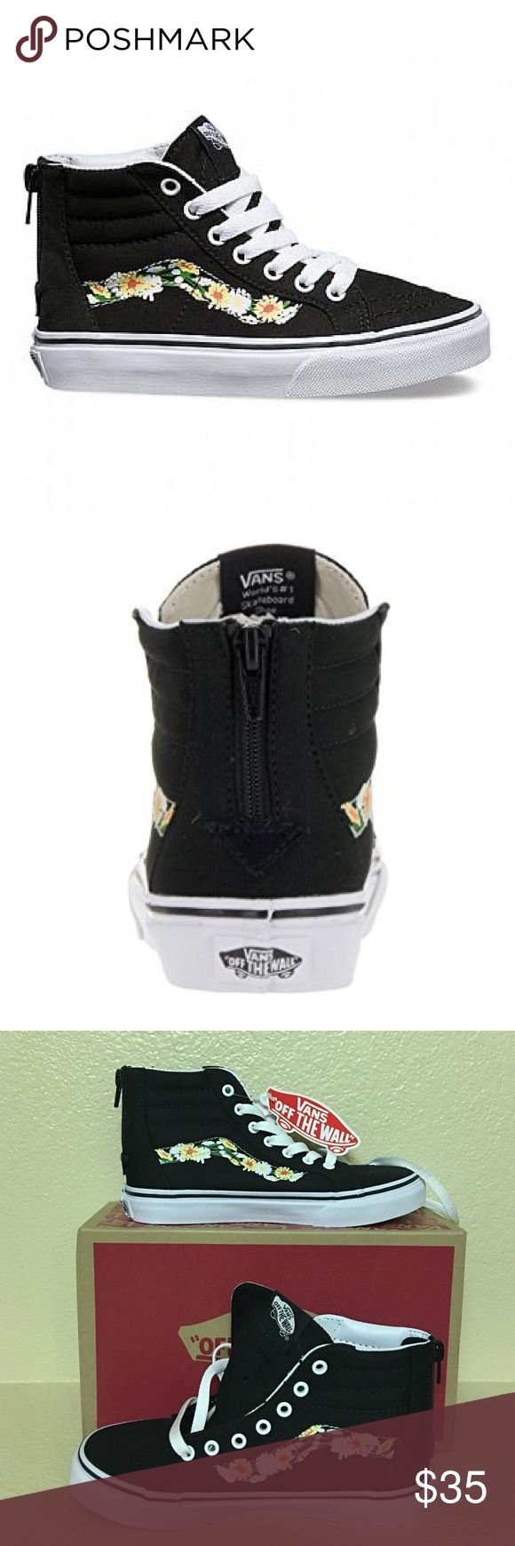 Girls Vans sk8 hi zip daisy New in box... Legendary Vans lace-up high top with a zipper entry at the heel, a daisy sidestripe, sturdy canvas and suede uppers, padded collars for support and flexibility, and signature rubber waffle outsoles. Vans Shoes Sneakers
