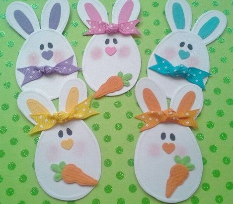 embellishments for Easter scrapbook page | Easter Egg Bunny Embellishments for scrapbooking 5 bunnies 3 carrots ...