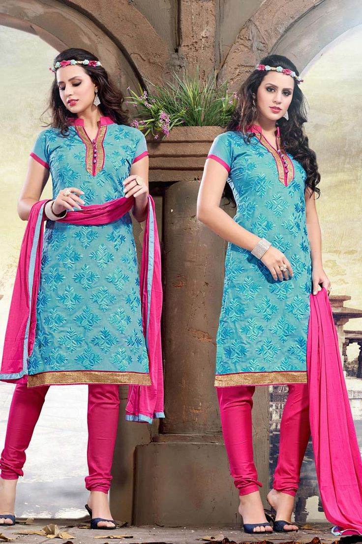 Sky Blue Chanderi Churidar Suit