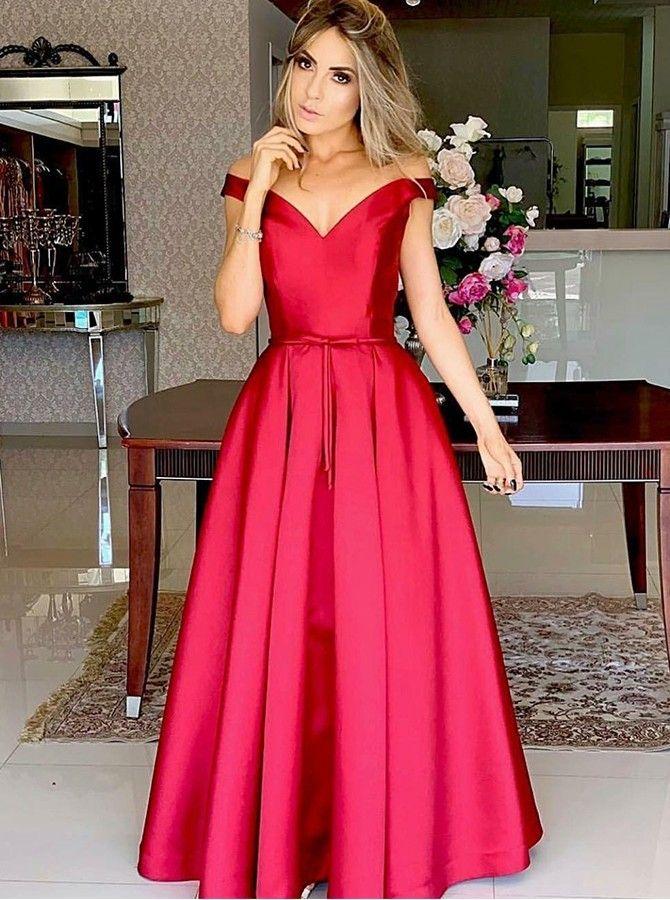 Formal Lang Off Schulter Satin Rot Ball Abend Party Kleid Mit Gurtel Langes Abschlussballkleid Kleid Mit Gurtel Abschlussball Kleider