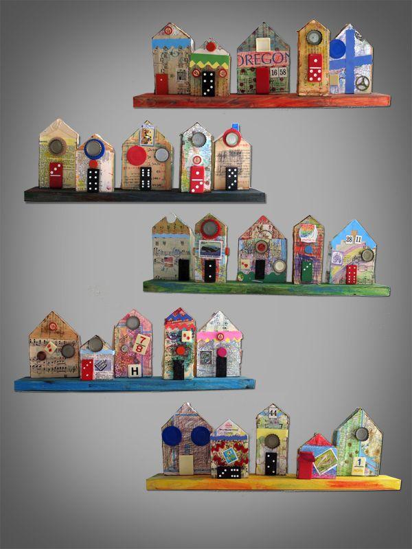 school auction project: neighborhood mixed media, houses, blocks, community artwork
