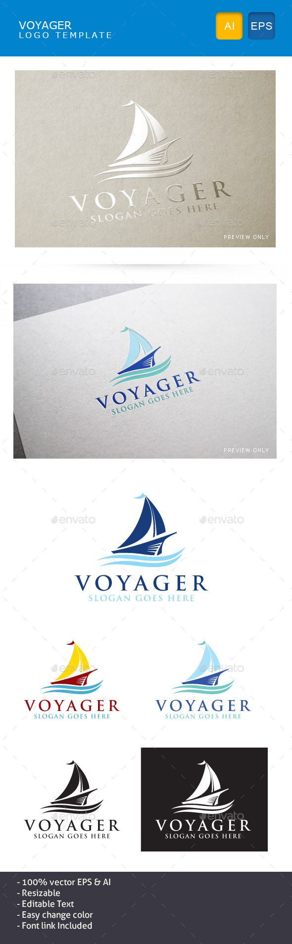 Voyager Boat - Objects Logo Templates