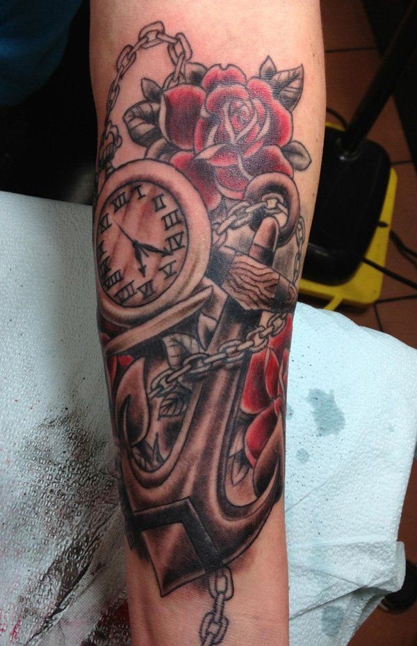 Anchor pocket watch tattoo - 35 Awesome Anchor tattoo Designs