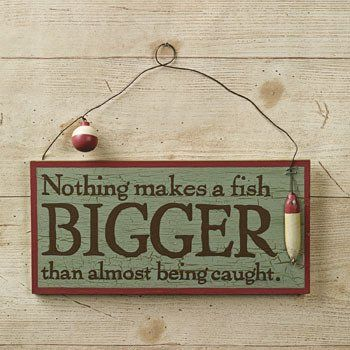 """New """"Nothing Makes A Fish Bigger"""" Sign Wall Hanging Accent Home Decor ~~~"""