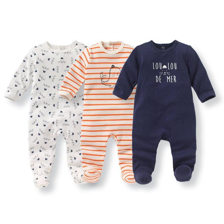 Pyjama coton imprimé 0 mois-3 ans (lot de 3) R Édition rayé + écru + bleu   La Redoute