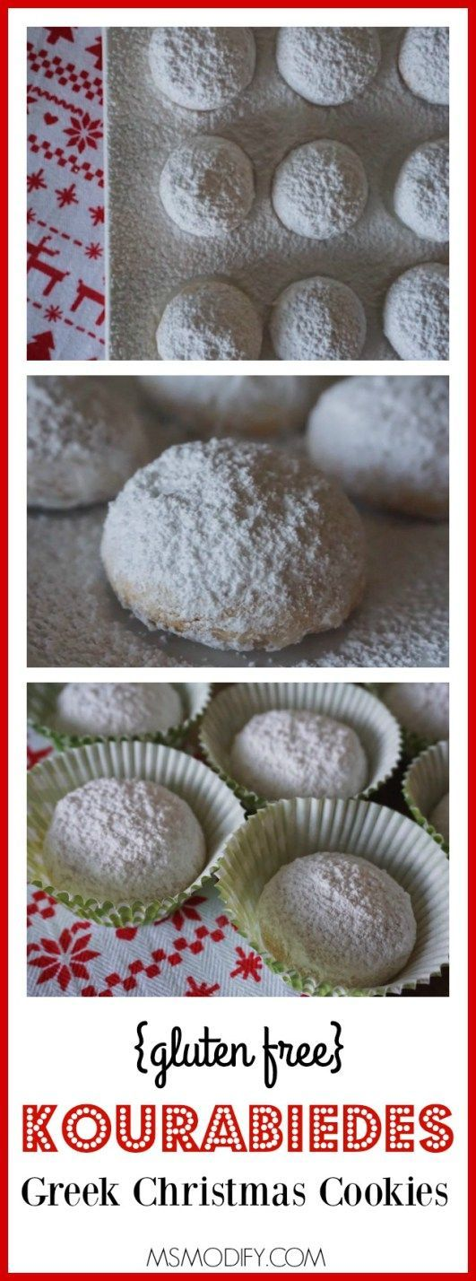 These Greek holiday cookies, called Kourambiedes, are covered in powdered sugar, melt in your mouth and have been modified from my grandma's recipe to be gluten free!