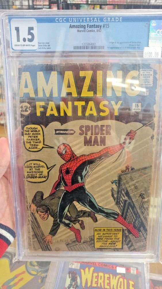AMAZING FANTASY #15 - CGC Grade 1.5 - First of appearance of Spider-Man!  http://www.ebay.com/itm/AMAZING-FANTASY-15-CGC-Grade-1-5-First-appearance-Spider-Man-/292100107390?roken=cUgayN&soutkn=Oh2jGG