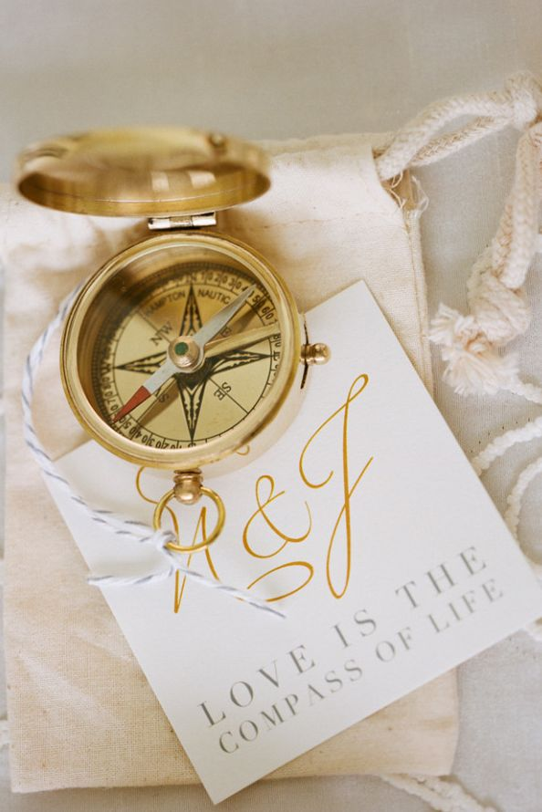 A compass can double as a place-setting:   27 Travel-Inspired Wedding Ideas You'll Want To Steal