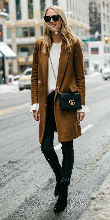 winter in the city + Amy Jackson + add some warmth + rust colored coat.  Coat: Zara, Sweater: Ann Taylor, Pants: Zara, Booties: H&M, Handbag: Gucci, Sunglasses: Celine.