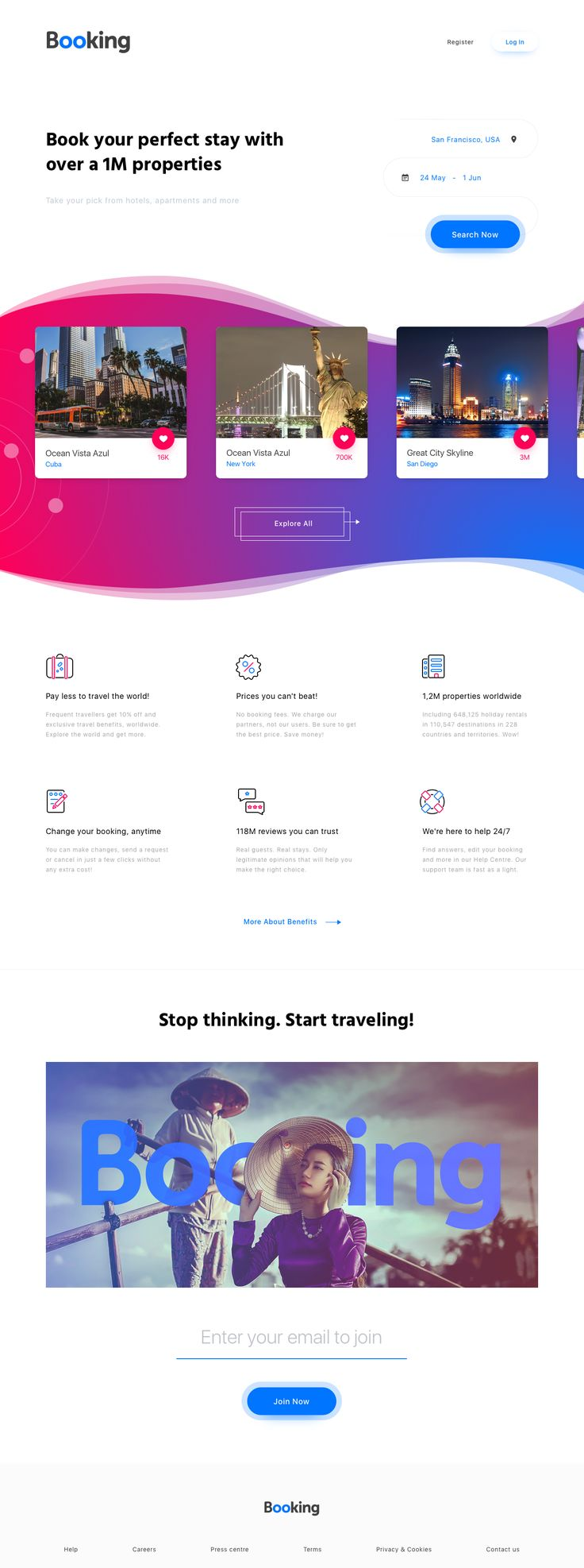 Booking.com – An Ui and Visual identity redesign concept by by George Vasyagin.