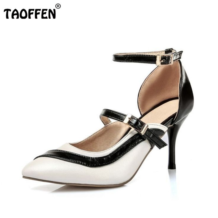 TAOFFEN Damen High Heels Sandalen Party Schuhe  34 EURed