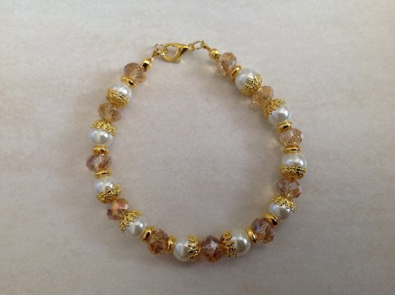 Cream Pearl Glass and Champagne Faceted Glass Beaded Bracelet
