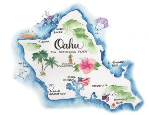 Leah E Moss Designs Watercolor Illustrated Map Of Oahu Hawaii