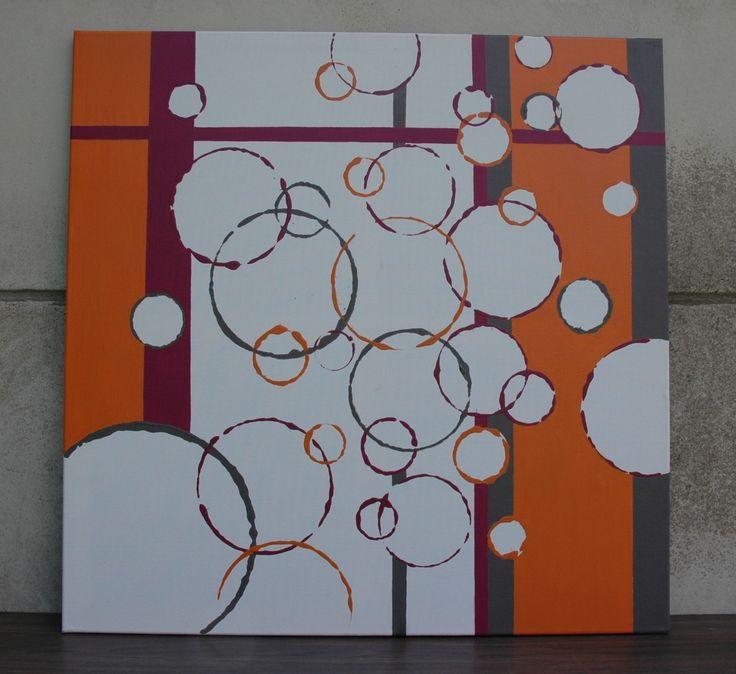 """peinture sur toile """"géométrie orange-fushia"""" : Décorations murales ..."""