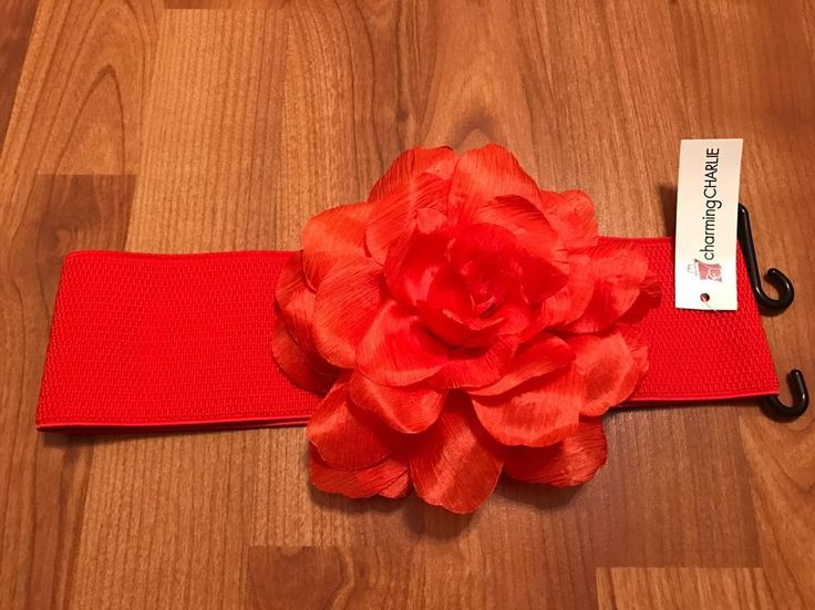 NWT Charming Charlie S/M Wide Stretch Belt w/ Big Flower #charmingcharlie #WaistBelt