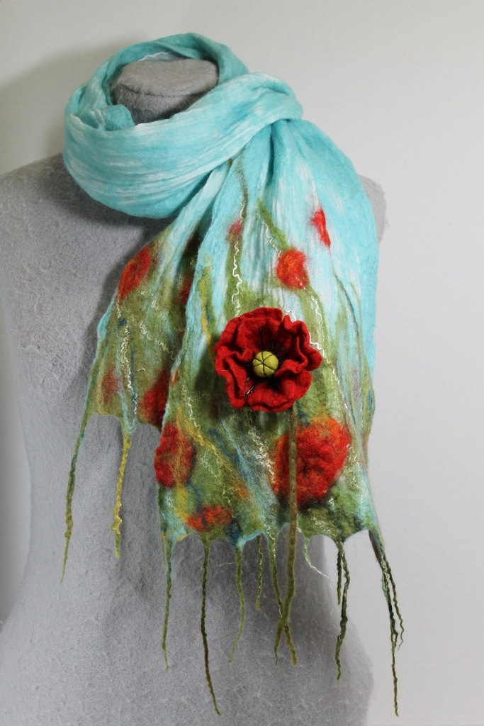 Nuno Felted Scarf- Poppy Field OOAK. $89.00, via Etsy.