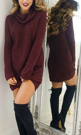 love this maroon knit dress for colder days