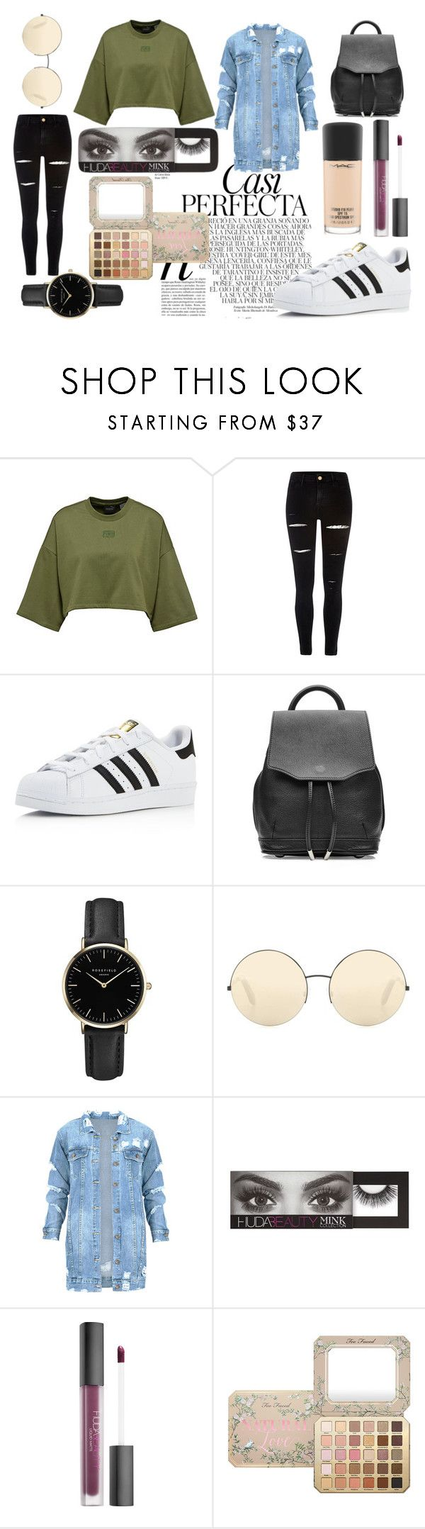 """Teen perfect look"" by isaline-de-soie on Polyvore featuring mode, River Island, Whiteley, adidas, rag & bone, ROSEFIELD, Victoria Beckham, Huda Beauty et MAC Cosmetics"
