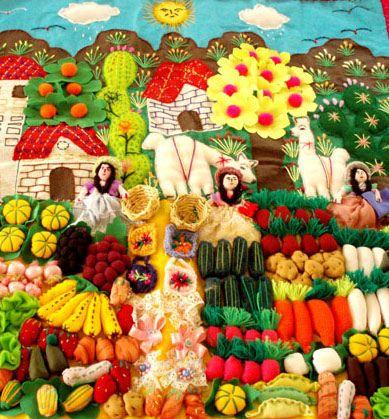 An arpillera all about the veggie market.