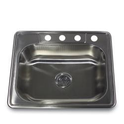 Stainless Steel (Silver) 25 Inch Self Rimming 4 Hole Single Bowl Kitchen  Sink (Self Rimming Single Bowl), Size Over 22