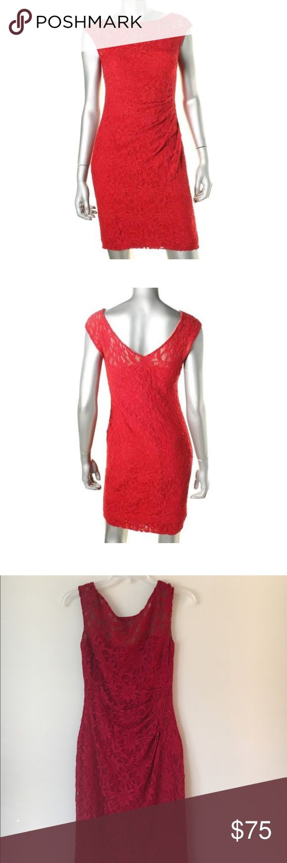 Ralph Lauren beautiful red lace cocktail dress Lace detail, tight fitting but stretchy dress. Great for cocktail parties, weddings, etc. Worn twice. Ralph Lauren Dresses Mini