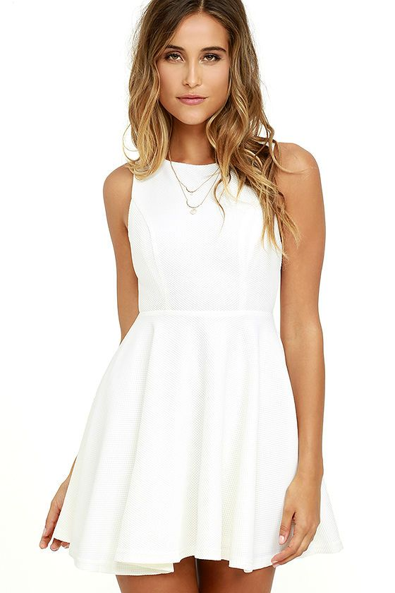 The Gal About Town White Skater Dress is perfect for the busy girl who gets invited to everything! Textured stretch knit forms a sleeveless…