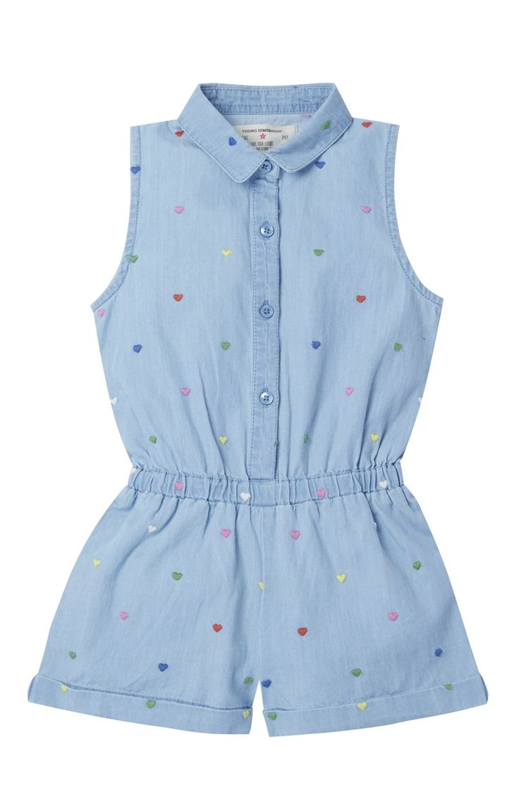 Denim Heart Embroidered Playsuit
