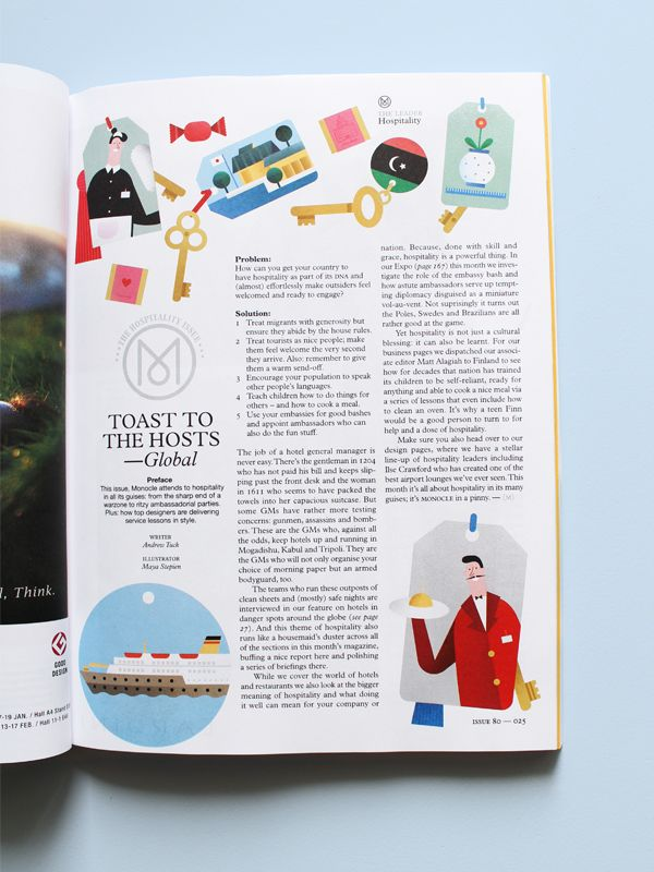 The Opener Illustration for Monocle Magazine, issue 80 by Maya Stepien #GraphicDesign