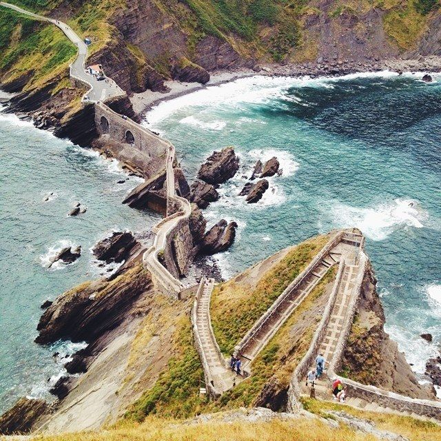 Stairs leading to San Juan de Gaztelugatxe in Spain's Basque Country. Photographed by @sdpnt.