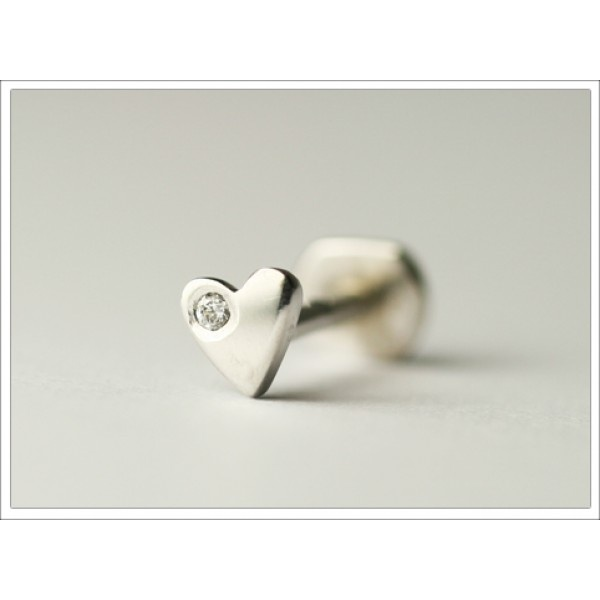 Heart Tragus Pin set with Diamond