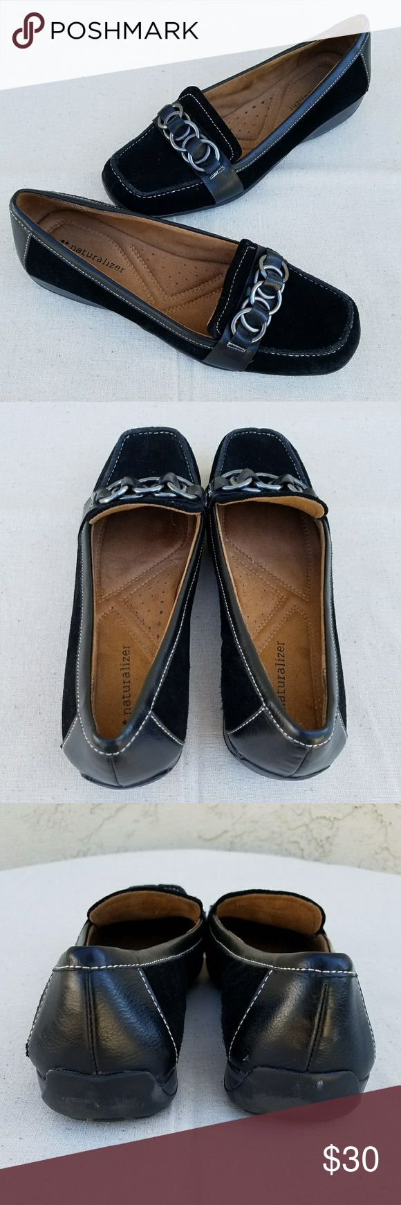 """Naturalizers Cecily Black Suede Loafers Genuine suede black leather slip on loafers. Silver tone looped rings on the vamp and white stitch detail. Sueded cushioned insole and rubber soles. EUC. Minimal wear to soles. 1"""" heel. Naturalizer Shoes Flats & Loafers"""