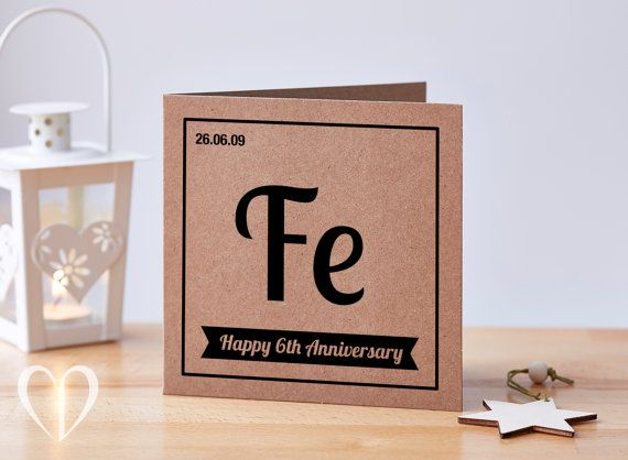 Personalised 6 year anniversary card – Based on the 'Iron' theme