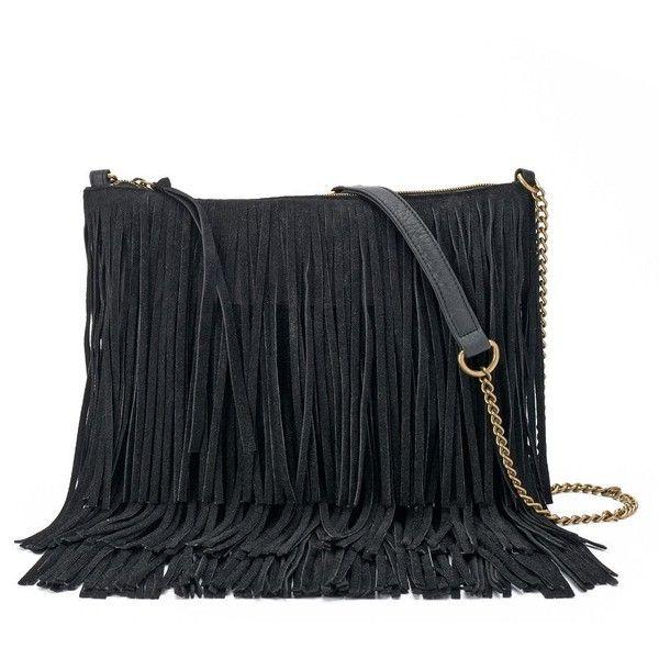 SONOMA Goods for Life™ Marguerite Fringed Crossbody Bag ($42) ❤ liked on Polyvore featuring bags, handbags, shoulder bags, bolsos, purses, bolsa, black, boho shoulder bag, fringe purse and crossbody purses