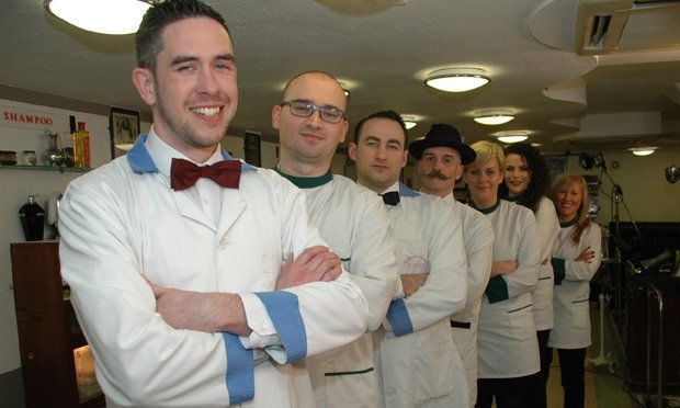 The staff at the Waldorf Babershop