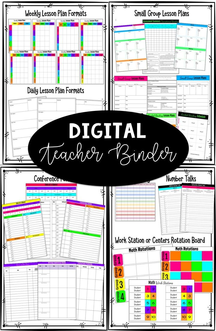 This Digital Teacher binder includes weekly lesson plans, daily lesson plans, small group forms, RTI notes, student data forms, student conference forms, behavior logs, number talk checklists, and more!