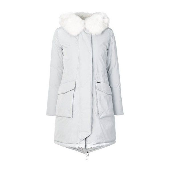 WOOLRICH Fox Fur Parka Coat (971.470 CLP) ❤ liked on Polyvore featuring outerwear, coats, grey, fox coat, grey parka coat, woolrich parka, gray coat and hooded parka