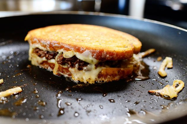 hamburger and grilled cheese sandwich