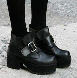 Women's Black Punk Gothic Buckle Strap Chunky Heels Platform Ankle Boots   eBay