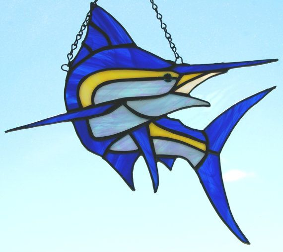Stained Glass Blue Marlin Makaira nigricans by glassnwood on Etsy