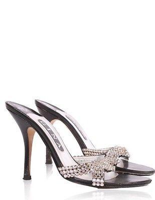 Gina-Zeta-Swarovski-Mules-Heels-Shoes-Size-8-Wedding-Xmas-RRP-325-BLACK-KID