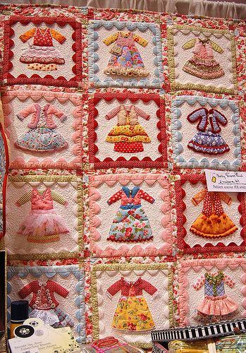 Adorable little dresses quilt ... one could take this idea and run with it, such as high heels, or little boys' overalls, or hats and caps ...