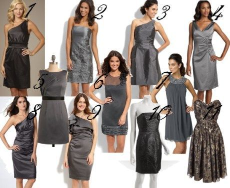 all sorts of gray bridesmaid dresses, most not from bridal stores.  I'm loving 5 and 7