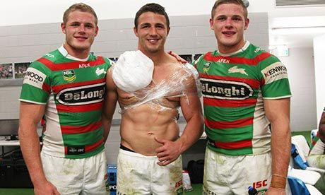 Tom, Sam and George Burgess after their first NRL game together for the Rabbitohs