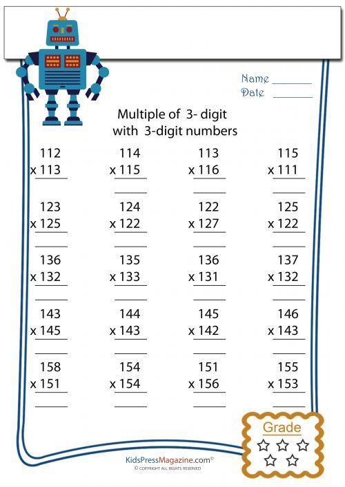 3 Digit by 3 Digit Multiplication Worksheet -#4
