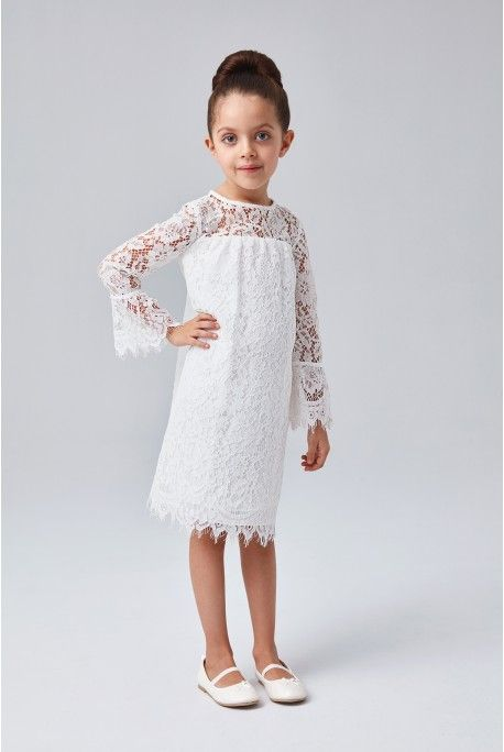 e1b910870c Short Lace Flower Girl Dress with Illusion Sleeves Eyelash trim at the 3 4- sleeves and hemline give this lace sheath flower girl dress a fun and  fringy ...