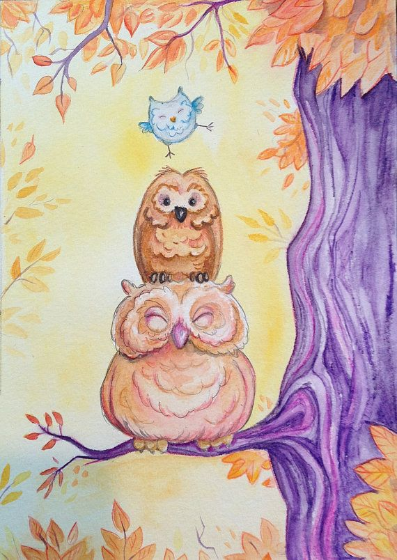 3 happy owls small watercolor painting. How cu-hoot!