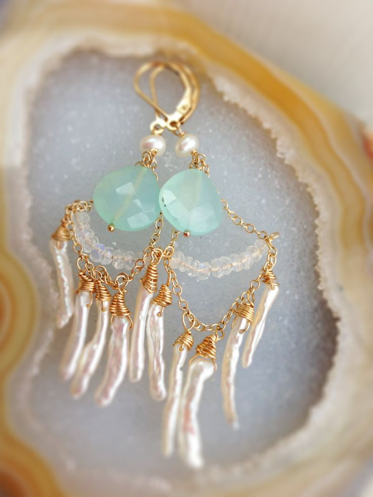 Wedding Jewelry - Aqua Blue Chalcedony Gold Earrings with rainbow moonstone and organic freshwater stick pearls