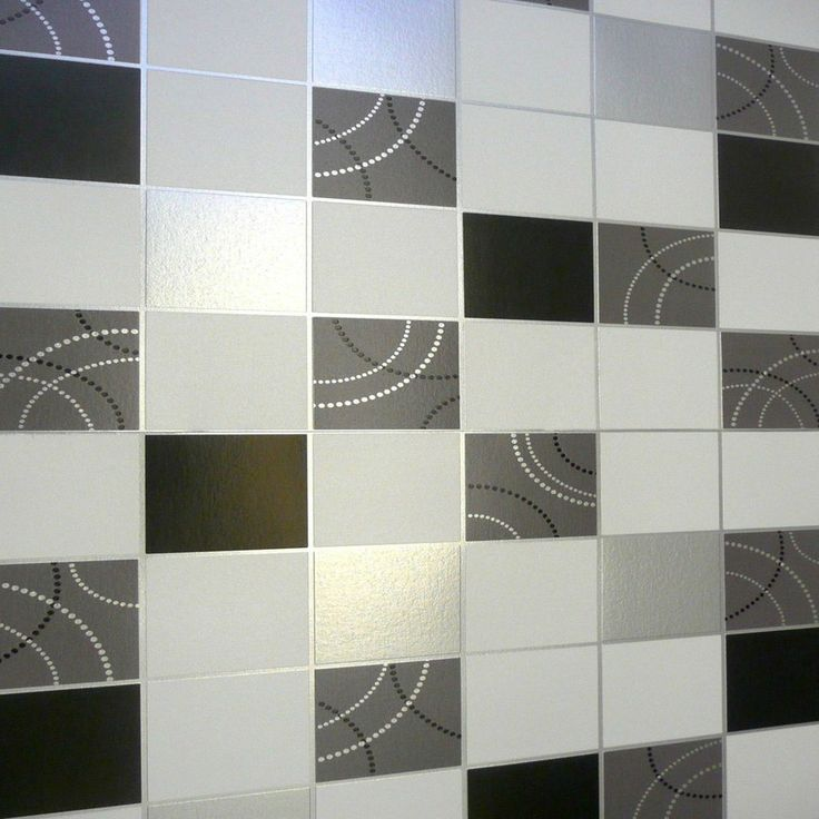 Quality Dotty Wallpaper For Kitchen Bathroom Black Silver Tile Blown Vinyl  | eBay